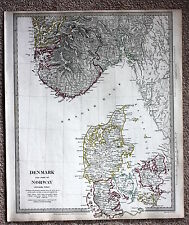 Original antique map SDUK DENMARK & PART OF NORWAY 1833