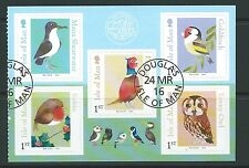 ISLE OF MAN 2016  BIRDS SELF ADHESIVE SET OF 5 FINE USED