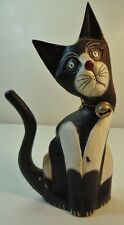 Vintage Cat Wood Figure Standing Head Cocked Black White Distressed Hand Painted