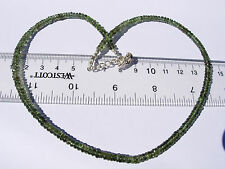 60.9 carats of checkered cut beads 4x2mm MOLDAVITE necklace 18 inches long