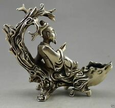 Collectible Decorated Old Handwork Tibet Silver Elder Read On Tree Branch Statue