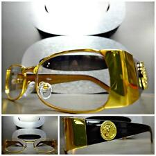 Mens CLASSIC VINTAGE RETRO Style Clear Lens EYE GLASSES Gold Black Fashion Frame