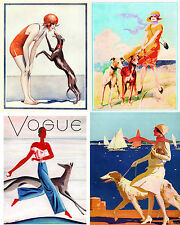 Vintage Beach Greyhound Dog Art Notecards Set of 4 w/env