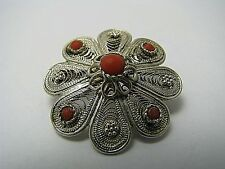 A STERLING SILVER BROOCH PIN CORAL STONES FILIGREE Middle East Palestine ca1920s