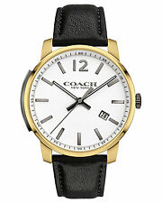 NWT Coach MEN'S BLEECKER GOLD TONE BLACK LEATHER STRAP WATCH 42MM 14602055