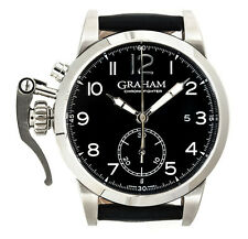 Graham Chronofigher 1695 Steel Black Automatic Strap Mens Watch 2CXAS.B01A.L17S