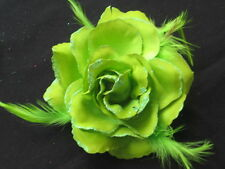 Rose Flower Feather Fascinator Hair Elastic & Pin / Wrist Corsage 30 COLOURS