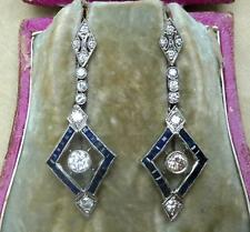 Stunning platinum art deco 1.80ct Diamond and 2ct Sapphire dangle drop earrings