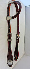 One Ear Headstall Horse Burgundy Latigo Leather Jeremiah Watt Smooth Conchos New