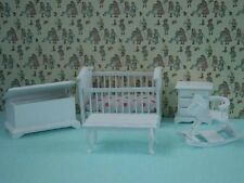 1/24th Scale Nursery Bedroom Set In White, Doll House Miniature,1.24 Scale