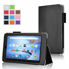 Slim-Fit PU Leather Folio Case for Amazon Fire Fire 7(2015 Old Model) Black