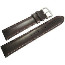 20mm Hirsch Merino Mens Brown Smooth Nappa Sheepskin Leather Watch Band Strap