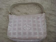 Authentic Chanel Travel Line Pink Canvas & Leather Tote Bag Purse