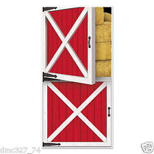 Western Cowboy Country Farm Barnyard Party Decoration Prop RED BARN DOOR COVER