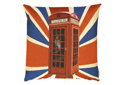 Telephone Box Union Jack Flag Belgian Woven Tapestry Cushion - Red K9 Phone