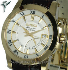 New SEIKO PREMIER GOLD KINETIC WHITE FACE Day Date LEATHER CLASP STRAP SRN042P1