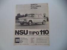 advertising Pubblicità 1965 NSU TIPO 110