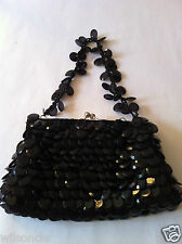 La Regale Black Beaded Evening Glamour Clutch Handbag