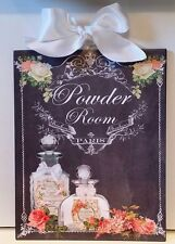 Shabby French Country Chic Vintage Perfume & Roses Powder Room Wall Plaque NEW!
