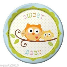 HAPPI TREE OWL SMALL Blue PAPER PLATES (8) ~ Baby Shower Party Supplies Dessert