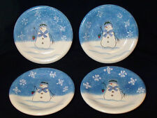 "Lot 4 St. Nicholas Square Snowman Snowflake Salad Plate 8"" Button Up Bow Tie"