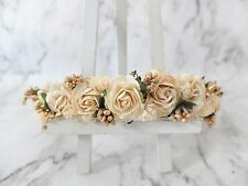 Flower crown - ivory gold floral headpiece - rose headband - hair accessories