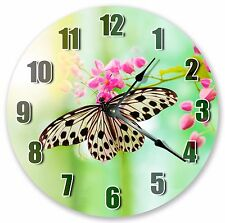 "10.5"" BUTERFLY SIPPING NECTAR CLOCK - Large 10.5"" Wall Clock - Home Décor - 3202"