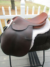 16.5'' BROWN LEATHER GALAXY HARTLEY SPRING TREE NARROW ENGLISH JUMP SADDLE & PAD