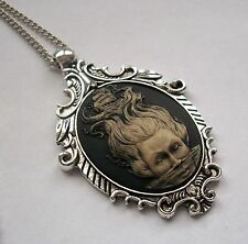 MERMAID PIRATE SHIP Vintage Style Steampunk Pendant HAND PAINTED CAMEO Necklace