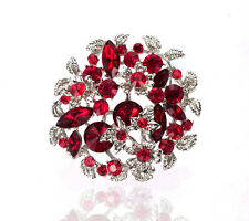 Luxury Vintage Style Ruby Red Rhinestones Flower Shaped Evening Brooch Pin BR358