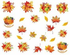 Nail Art Sticker Decals Transfer Autumn Leaves Pumpkin Thanksgiving (DB363)