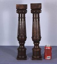 """19"""" Pair of French Antique Chestnut Pillars/Posts/Ionic Columns/Balusters"""
