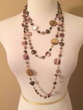 Chico's Beautiful Silver Tone 3 Strand Necklace With Bronze, Brown Colored Beads