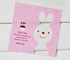 Cute kawaii pink rabbit heart cookie cello sandwich sweet bag self seal adhesive