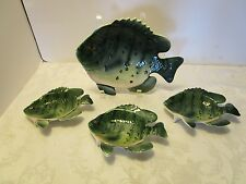 SET 4 LEFTON FISH 1 wall 3 trays bathroom soap trinket Japan Nautical 1950's