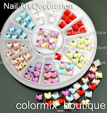 #R51 Nail Art Tips Decoration 3D 4 x 4 mm Square Glitter Glass Rhinestones+Wheel