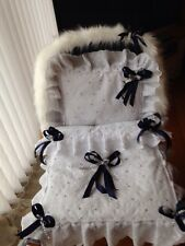 DOLLS PRAM QUILT SET FOR SILVER CROSS COACH BUILT   + FUR HOOD TRIM