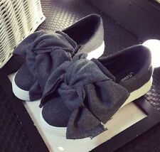 Oversize Bow Jersey or Denim Skate Slip-Ons Loafers Sneakers Black or Grey