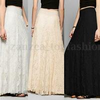 UK Womens Lace Boho High Waist Long Full Skirt Long Maxi Skirt Sz 8 10 12 14