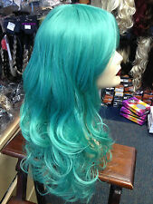 BEAUTIFUL LUXURIOUS LONG THICK UNISEX WIG FITS ALL Jade Green   BEST QUALITY UK