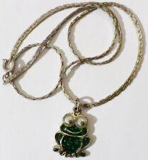 pendentif chaine bijou rétro grenouille verte pailetté yeux mobile relief *4995