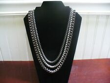 "Vintage 3 Strand GunMetal Gray Modern Industrialist Box Link Chain 23"" Necklace"