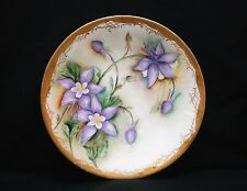 Vintage S D Groth JPL France Limoges Hand Painted Plate Purple Flowers Gold Trim