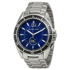 NEW MICHAEL KORS MK8400 JETMASTER SILVER STEEL DUAL-TIME BLUE DIAL MEN'S WATCH