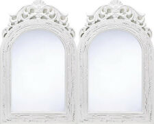 SET OF 2 Wood Framed French Country Style Arched Top Wall Mirror