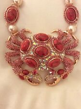 $165 Betsey Johnson  Pearl Crab Pendant Statement  Necklace