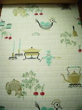 Vintage 1950's Mid Century Kitchen Wallpaper Roll Aqua Chef Veggies   More