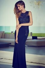 Lipsy VIP navy lace applique cutout maxi dress size 12 RRP £130 brand new Prom