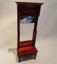 Vtg Bespaq? Dollhouse Miniature Victorian Mirrored Mahogany Entry Console Table