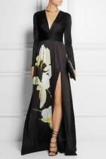 ALTUZARRA  Maxi dress Formal Target Orchid-print satin-jersey Black Sz 4 or 10